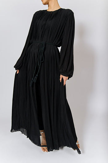 Abaya And Hijab Styles Black Pleated Abaya Dress with Belt