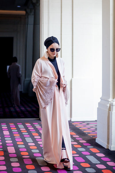 Designer Abayas For Weddings Pink Open Front