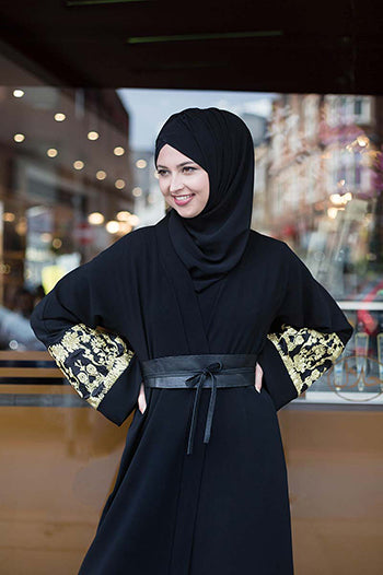 Abaya And Hijab Styles Black Abaya with Gold Sleeves