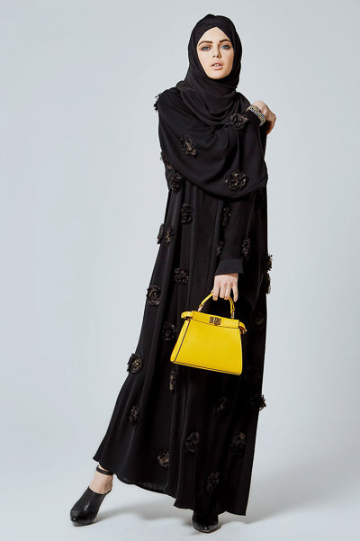 Best Hijabs and Abayas Occasions Black with Flowers Abaya