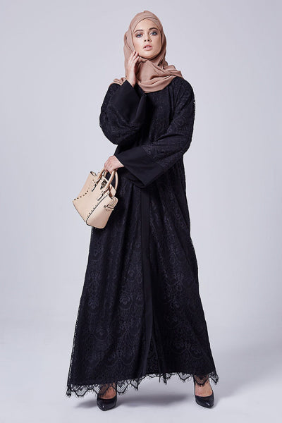Best Hijabs and Abayas Occasions Black Lace Abaya