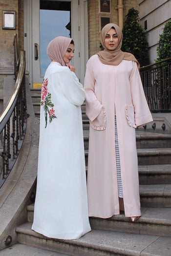Where To Buy Fancy Abayas For Weddings White Floral Open