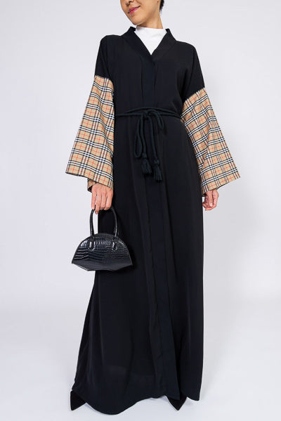 Best Modest Clothing Stores Online Black Abaya Checkered Sleeves