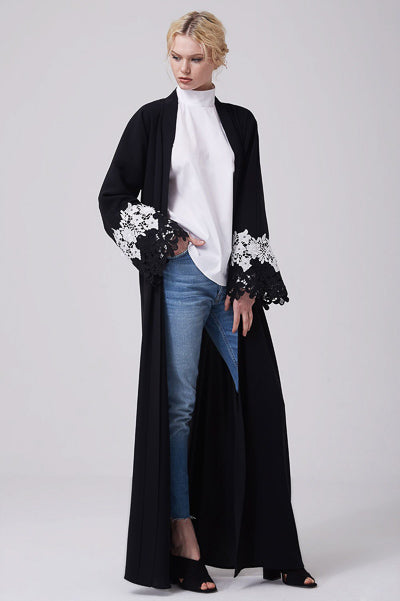 Where To Buy Modest Clothes Online Black and White Lace Abaya Open Dress