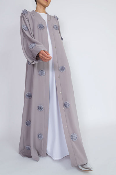 How To Style Open Abaya Kimono Designs Grey Flowers