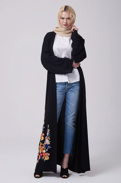 Must-Have Open Abaya Kimono Designs Black Floral
