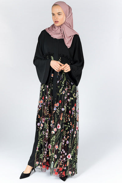 Where To Buy Fashionable Modest Clothing Black Abaya Dress Floral