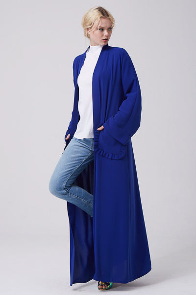 Modest Dressing Blue Open Abaya Pocket Frill