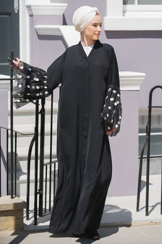 Reasons to Wear an Abaya Black with Polka Dot Tulle Sleeves