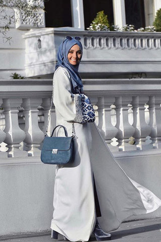 Reasons to Wear an Abaya White with Blue Print and Lace on Cuffs