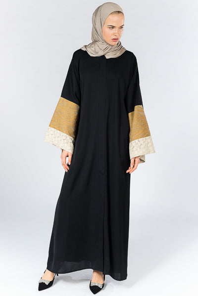 Modest Dressing Black Abaya Textured Sleeves