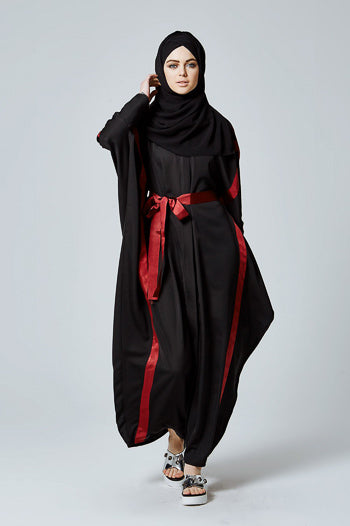 Where To Buy Fancy Abayas For Weddings Black Batwing with Red Sash