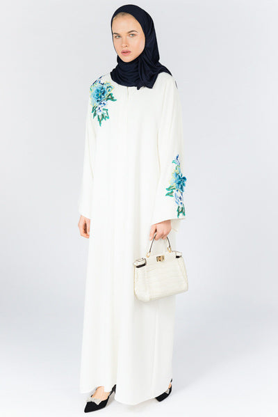 Fancy Abayas For Weddings White Floral