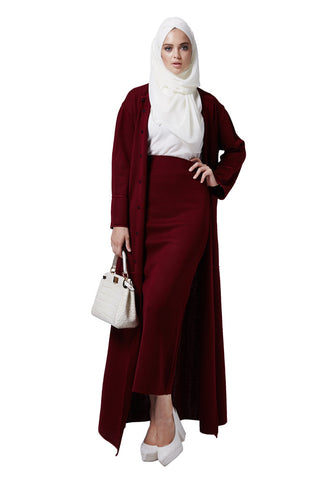 a9595c82f8d2 CHELSEA KNITTED PENCIL SKIRT BURGUNDY
