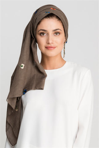 Embroidery hijab umber brown FERADJE