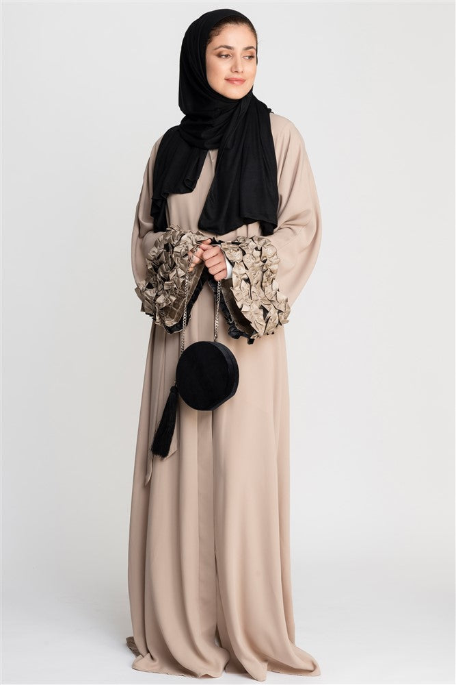 Beige Open Abaya with Frills on Sleeves in Crepe