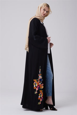 Black Open Front Abaya with Flowers on Bottom Front in Crepe