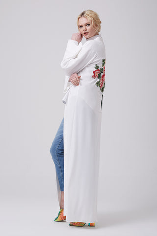 White Open Front Abaya with Back Flowers in Crepe