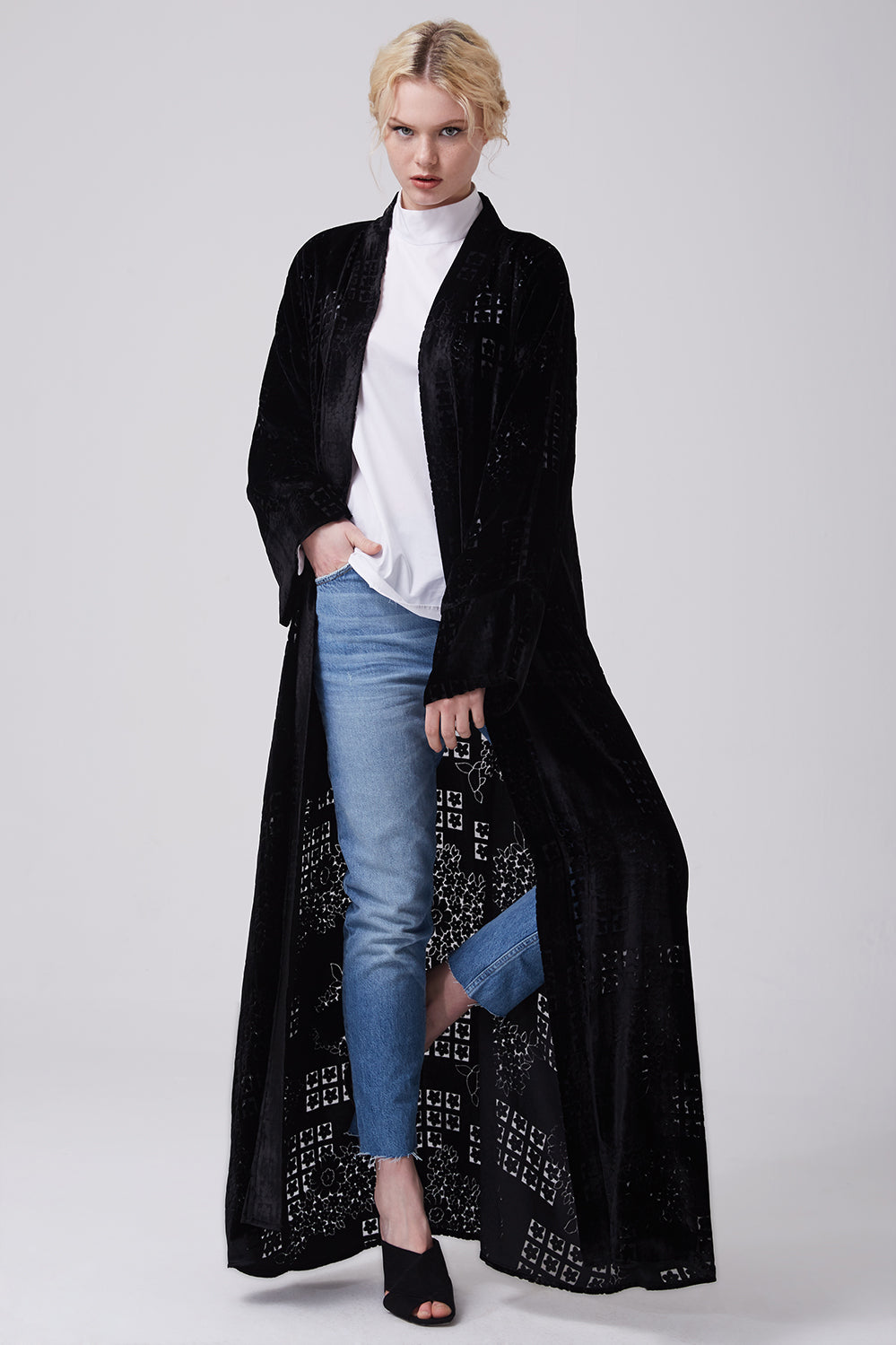 Black Open Front Silk Velvet Abaya with Floral Embroidery