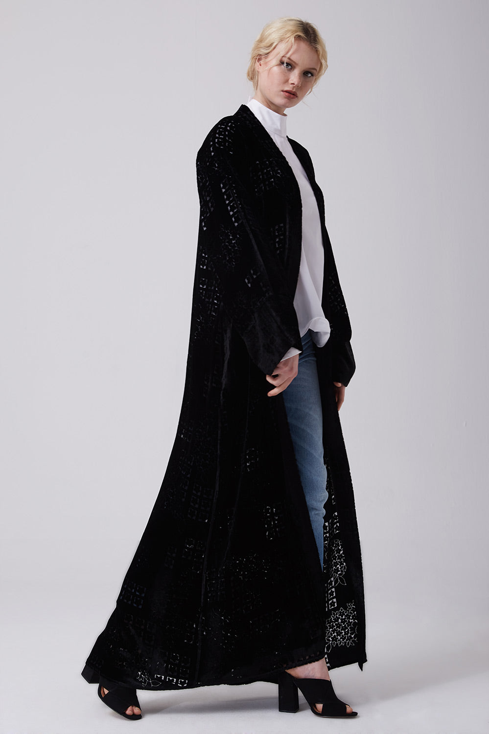 Black Open Silk Velvet Abaya with Floral Embroidery