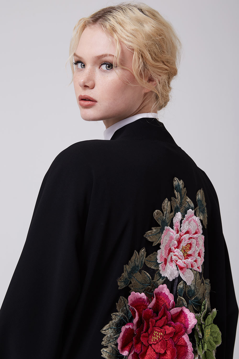 Open Black Abaya with 3D Flowers on Back in Crepe