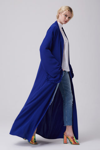 Open Royal Blue Abaya with Frills Pockets in Crepe