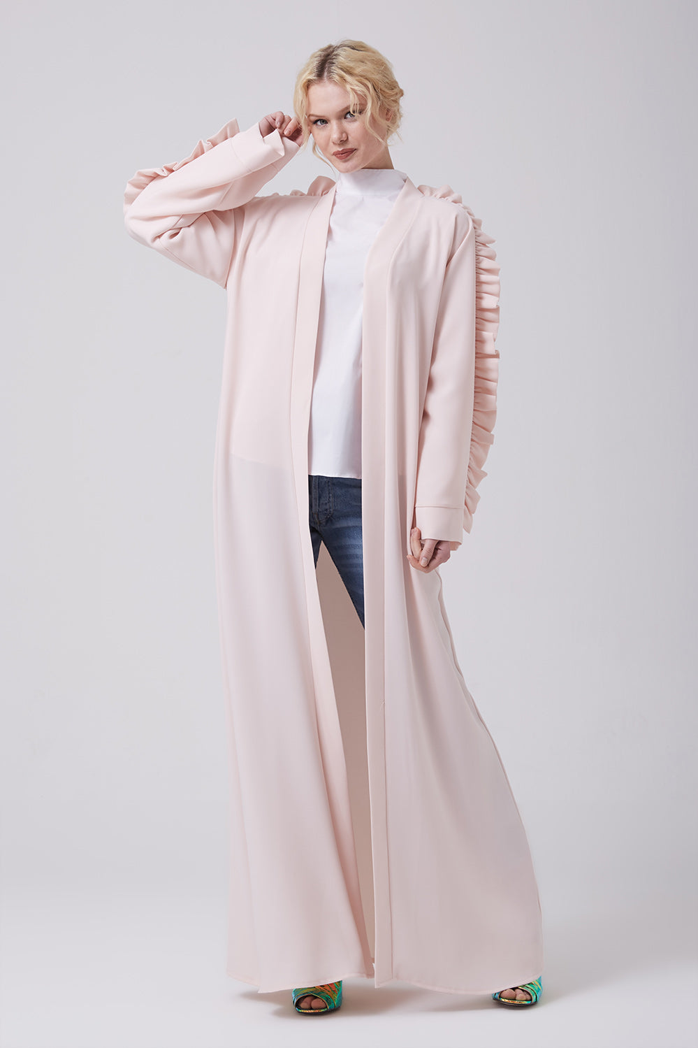 Feradje Pink Blush Open Abaya with Frills on Shoulders