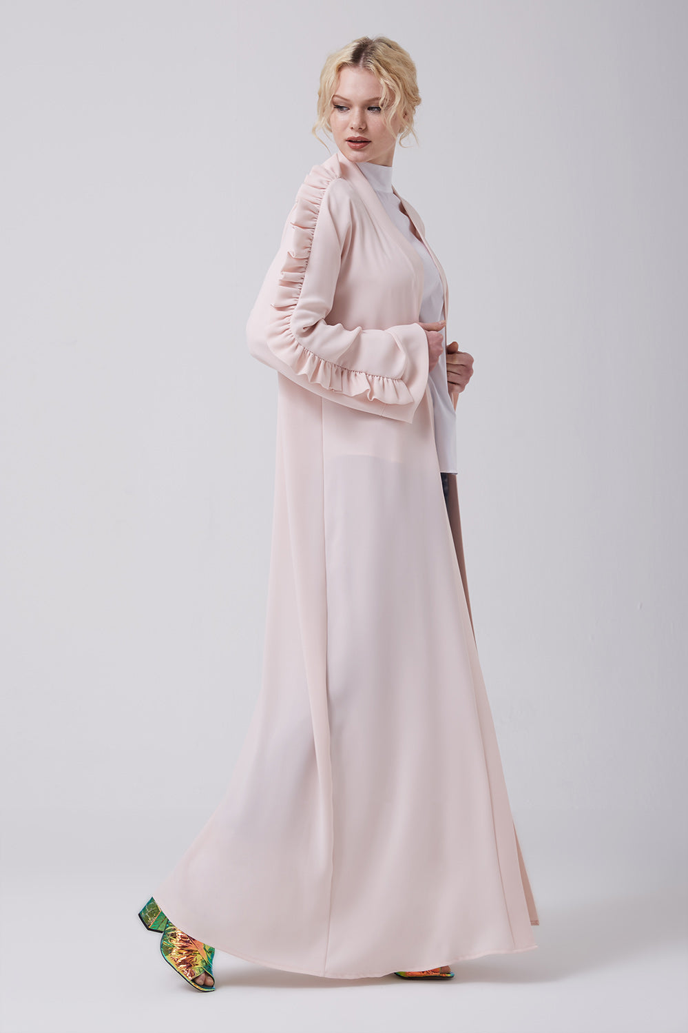 Pink Blush Open Front Abaya with Frills on Shoulders in Crepe