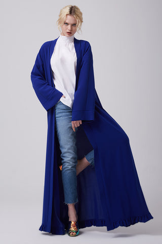 Open Front Royal Blue Abaya in Crepe
