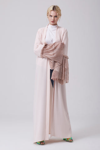 Open Front Pink Abaya with Shimmery Sleeves in Crepe