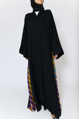 Feradje Closed Black Abaya with Colourful Sides in Silk