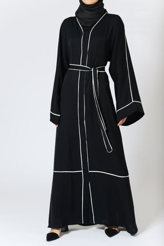 Black Abaya Kimono with White Lines, Sash in Crepe