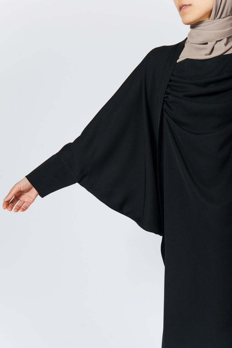 Feradje Black Abaya Dress with Loose Batwing Sleeves in Silk