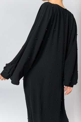 Black Closed Abaya in Silk with Black Pearls