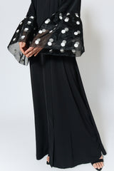 Feradje Black Closed Abaya with Net Mesh Polka Dot Sleeves in Nida