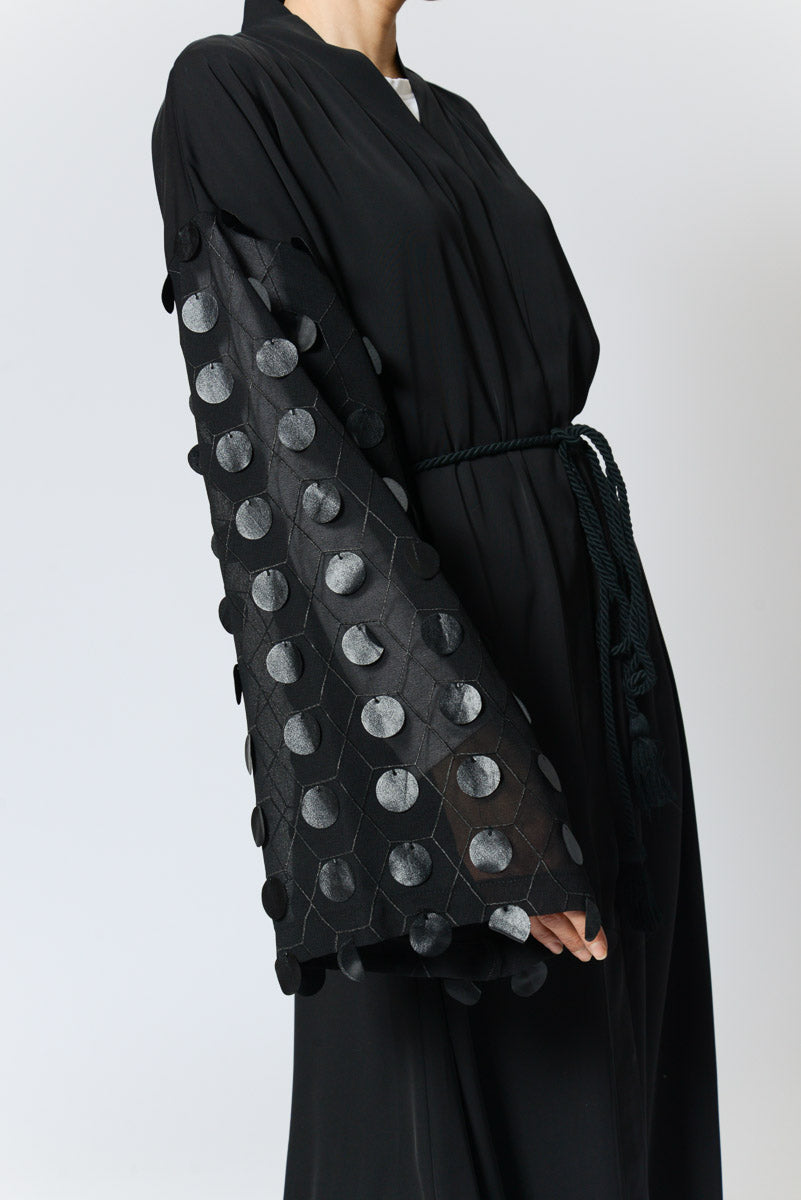 Black Kimono Abaya with Black Circles on See Through Sleeves in Nida