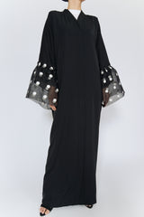 Feradje Black Closed Black Abaya Polka Dot Tulle Sleeves