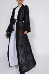 Feradje Open Black Abaya with Embroidery and Belt