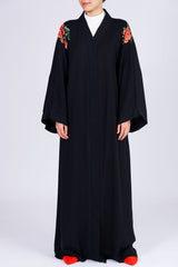Feradje Black Open Abaya with Red Flowers on Shoulders