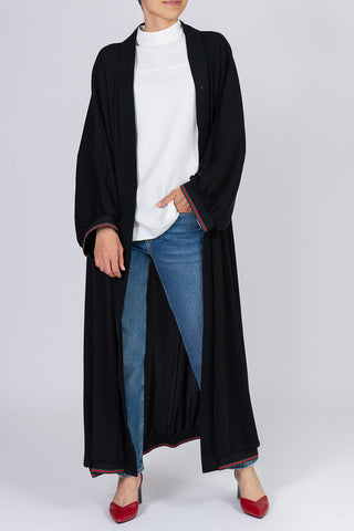 Feradje Open Black Abaya with Stripes on Sleeves and Hem in Silk