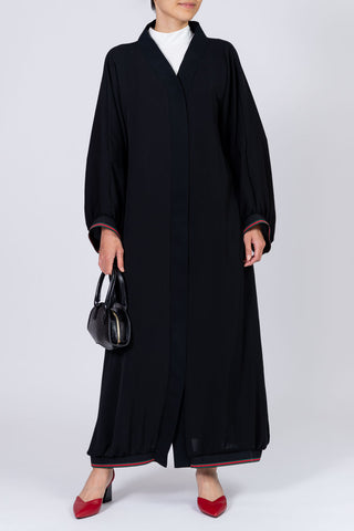 Feradje Closed Black Abaya with Stripes on Sleeves and Hem in Silk