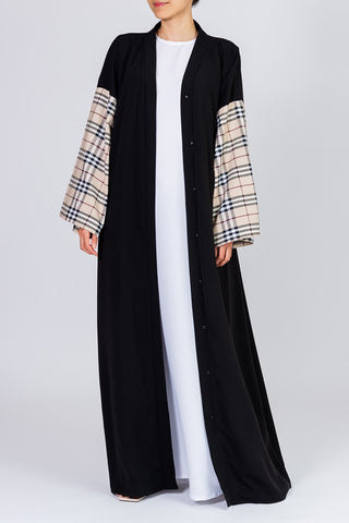 Feradje Black Open Abaya with Checkered Sleeves in Silk