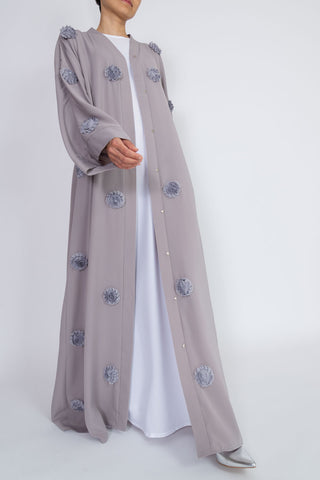 Feradje Grey Flower Open Abaya in Silk