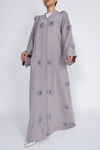 Feradje Grey Flower Closed Abaya in Silk