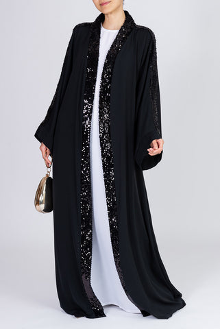 Feradje Black Sequin Open Abaya in Silk