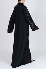 Feradje Black Sequin Closed Abaya in Silk