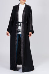 Feradje Open Black Sequins Abaya with Belt