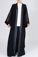 Feradje Open Black Sequins Abaya