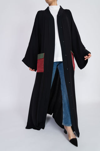 Feradje Open Black Abaya with Pockets in Silk