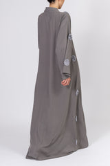 Feradje Dark Grey Closed Abaya with Flowers